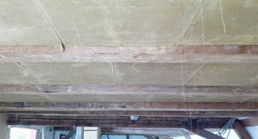Lehmplattenverplankung Decke